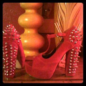 Vintage red spiked platform heels